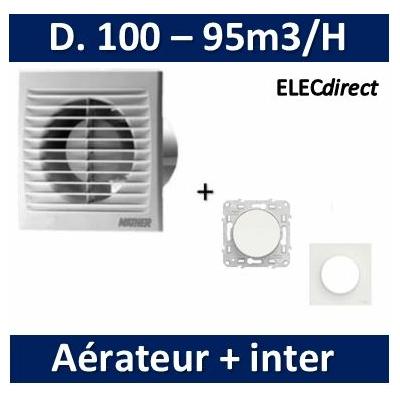 Nather - Aérateur Standard D. 100mm + Interrupteur Odace - 549009+s520204-s520702