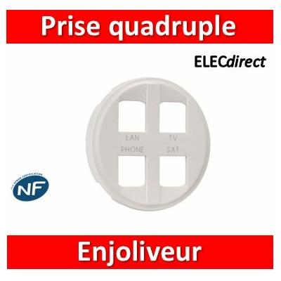 Legrand - Enjoliveur Céliane - prise quadruple pour réseau Optimum auto - blanc - 068194