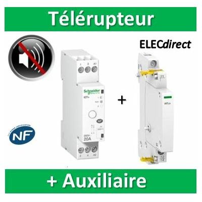 Schneider - Schneider Télérupteur - 16A 1NO Auxiliaire 24...240VCA - A9C15405+A9C15032