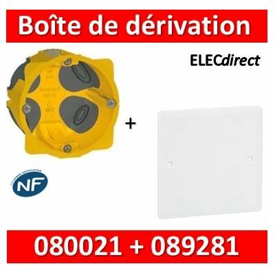 Legrand Batibox - Boîte encastrée BBC P40 + Couvercle universel 80 x 80 = boîte de dérivation - 080021+089281