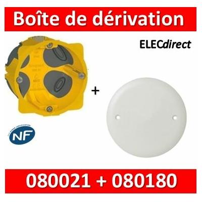 Legrand Batibox - Boîte encastrée BBC P40 + Couvercle universel D85mm = boîte de dérivation - 080021+080180