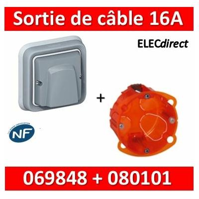 Legrand Plexo - Sortie de câble encastré - 16A + boîte Batibox IP55/IK08 - 069848+080101