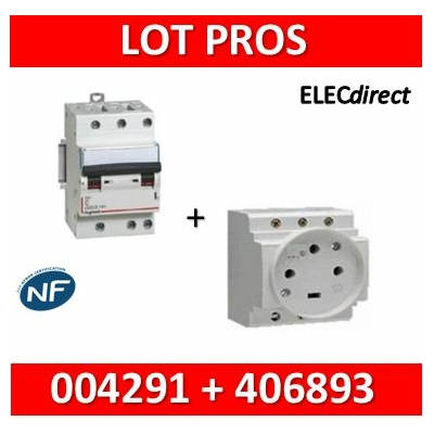 Legrand - PC 3P+T - 20A 400V  à  Eclips Modulaire + Protection 20A 6kA 3P - 004291+406893