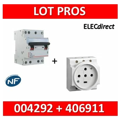 Legrand - PC 3P+N+T - 20A 400V à  Eclips Modulaire + Protection 20A 6kA 4P - 004292+406911
