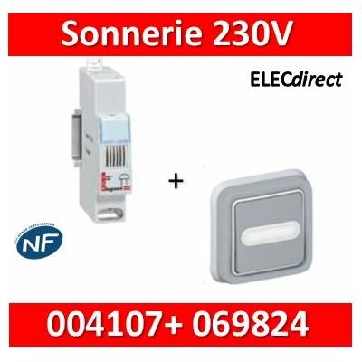 Legrand - Sonnerie modulaire - 230V + Poussoir Plexo encastré  - 004107+069824