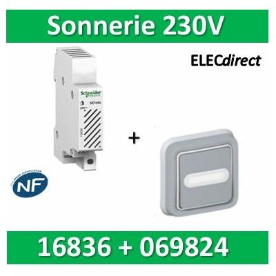 Schneider - Sonnerie modulaire SO'Clic 230V - 80dB + Poussoir encastré Legrand - 16836+069824