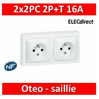 Legrand Oteo - 2x2Prises de courant 2P+T 16A - 230V - AUTO - 086076