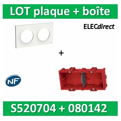 Schneider Odace - Plaque 2 postes + Boîte Batibox à sceller Legrand 2 postes - Hor/vert - s520704+080142