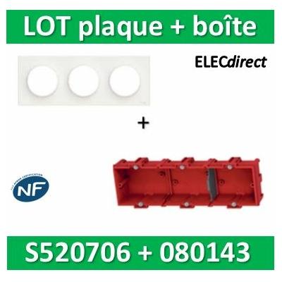 Schneider Odace - Plaque 3 postes + Boîte Batibox à sceller Legrand 3 postes - Hor/vert - s520706+080143