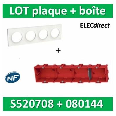 Schneider Odace - Plaque 4 postes + Boîte batibox à sceller Legrand 4 postes - Hor/vert - s520708+080144