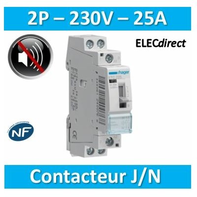 Hager - Contacteur Silencieux JN 25A - 2F - 230V - ETC225S