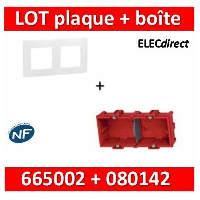 Legrand Niloé - Plaque 2 postes + Boîte Batibox à sceller Legrand 2 postes - Hor/vert - 665002+080142