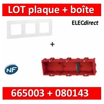 Legrand Niloé - Plaque 3 postes + Boîte Batibox à sceller Legrand 3 postes - Hor/vert - 665003+080143