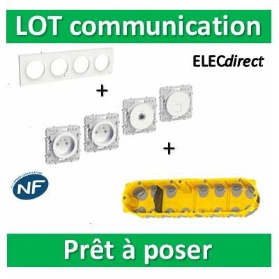 Schneider Odace - Lot plaque quadruple + 2PC + Prise TV + Prise RJ45 Cat.6 + boîte Batibox BBC