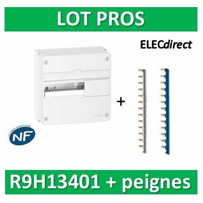 Schneider - Resi9 - coffret 13M - 1R + peignes PH+N Schneider  - R9H13401+14878+14879