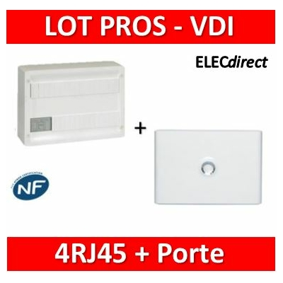 Legrand - Coffret VDI GRADE 1 et 2 avec brassage 18M - 4 RJ45+ Porte Drivia 18M - 418218+401231