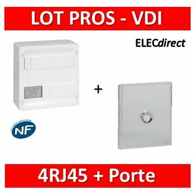 Legrand - Coffret VDI GRADE 1 et 2 - 4 RJ45 + Porte transparente Drivia 13M - 413218+401341