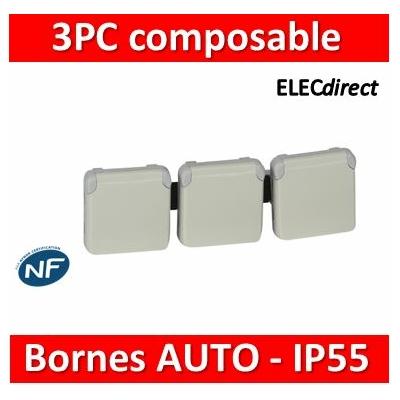 Legrand Plexo - Triple PC précâblées - Blanc - horizontal - 16A - 230V - IP55/IK07 - 069644