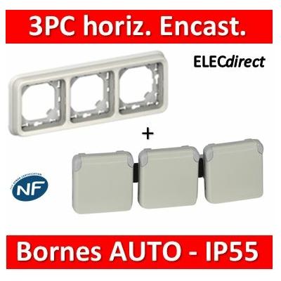 Legrand Plexo - Triple PC précâblées - Blanc encast. horizontal - 16A - 230V - IP55/IK07 - 069644+069698
