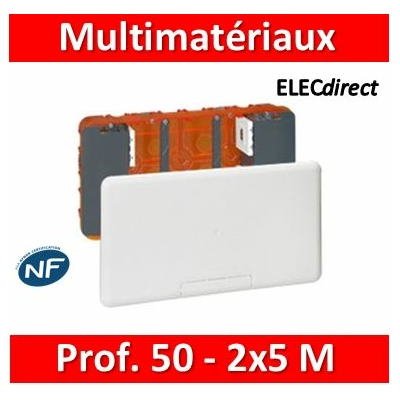 Legrand - Boîtier Batibox multimédia - 2 x 5 modules maxi - 285 x 142 mm - 080195