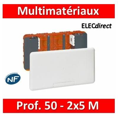 Legrand - Boîtier Batibox multimédia - 2 x 5 modules maxi - 285 x 142 mm - 080195