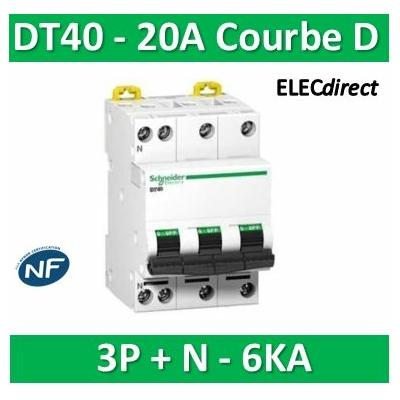 Schneider - DT40 - Disjoncteur 3P+N - 20A - 6kA - courbe D - A9N21076