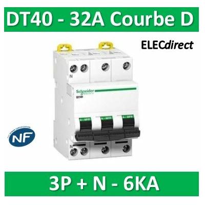 Schneider - DT40 - Disjoncteur 3P+N - 32A - 6kA - courbe D - A9N21078