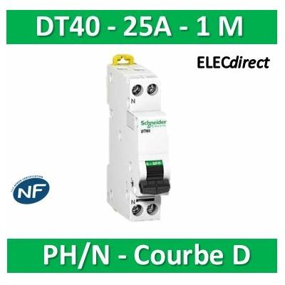 Schneider - DT40 Disjoncteur PH/N - 25A Courbe D - SCHA9N21378
