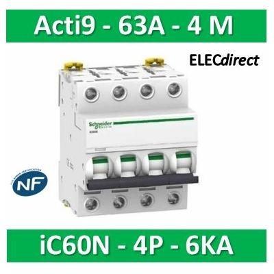 Schneider - Disjoncteur Acti9 - iC60N - 4P - 63A - 10kA - courbe C - A9F77463