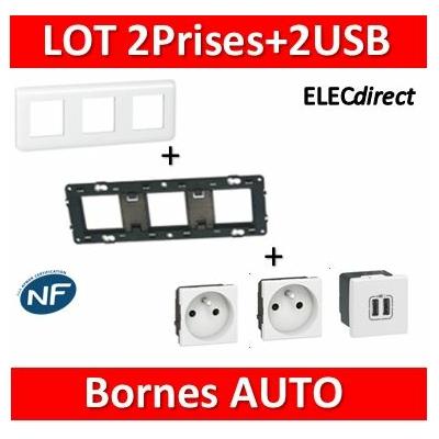 Legrand Mosaic - 2Prises + 2 USB complet - 3 postes (6M) - horizontale - 230V