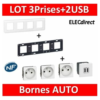 Legrand Mosaic - 3Prises + 2 USB complet - 4 postes (8M) - horizontale - 230V