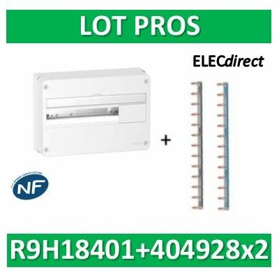 Schneider - Coffret électrique RESI9 18 modules - 1R de 18M + peignes PH+N Legrand - R9H18401+404928x2