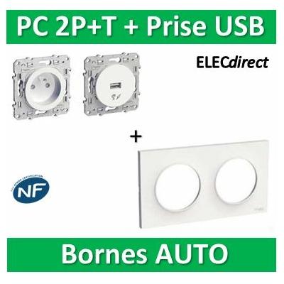 Schneider Odace - PC 2P+T + Prise USB + plaque - complet - 250V - s520704+s520059+s520408
