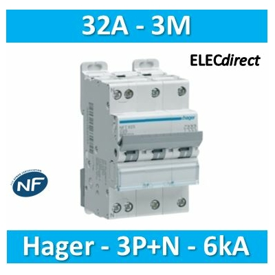 Hager - Disj.3P+N 6-10kA C-32A 3m - NFT832