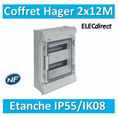 Hager - Tableau étanche IP55 - 24M - 2 rangées de 12M - VE212F