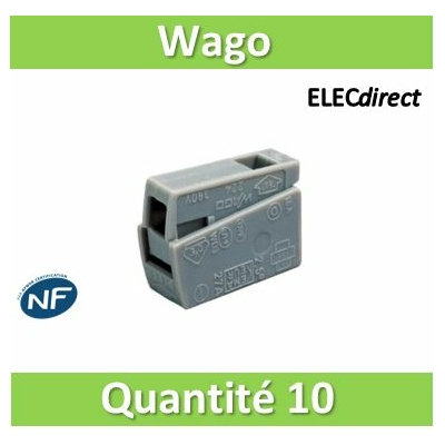 WAGO - Boîte de 10 Bornes auto pour luminaires 1 conducteur fils R / 1 conducteur fils R - S - WAG 224-101x10