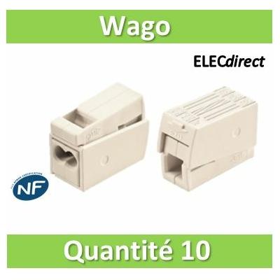 WAGO - Boîte de 10 Bornes auto pour luminaires 2 conducteurs fils R / 1 conducteur fils R - S - WAG 224-112x10