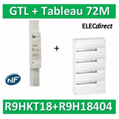 Schneider - Resi9 - kit goulotte 18M - 2 parties + Tableau RESI9 18M - 4R - R9HKT18+R9H18404