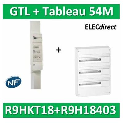 Schneider - Resi9 - kit goulotte 18M - 2 parties + Tableau RESI9 18M - 3R - R9HKT18+R9H18403