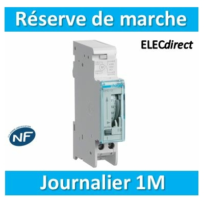 Hager - Interrupteur horaire journalier analogique avec réserve de marche - EH011