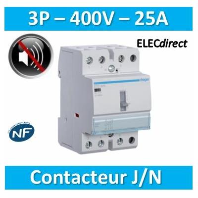 Hager - Contacteur J/N heures creuses - 25A - 3P pour chauffe-eau - silencieux - ETC325S