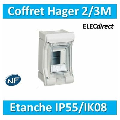 Hager - Tableau étanche IP55 - 2/3M - VE103F