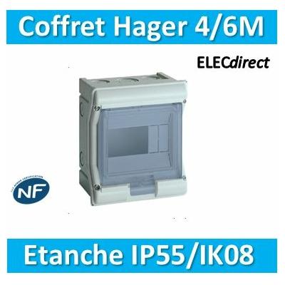 Hager - Tableau étanche IP55 - 4/6M - VE106F