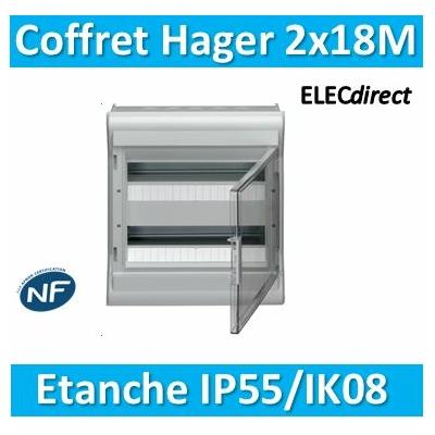 Hager - Tableau étanche IP55 - 36M - 2 rangées de 18M - VE218F