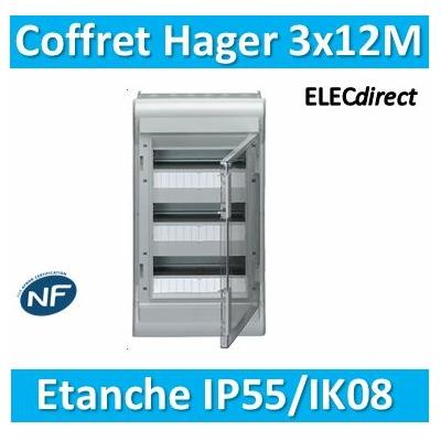 Hager - Tableau étanche IP55 - 36M - 3 rangées de 12M - VE312F