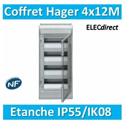 Hager - Tableau étanche IP55 - 48M - 4 rangées de 12M - VE412F