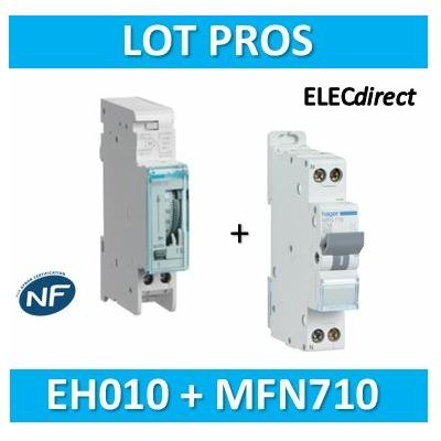 Hager - Interrupteur horaire journalier analogique + disjoncteur 10A - EH010+MFN710