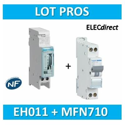 Hager - Interrupteur horaire journalier analogique avec réserve + disjoncteur 10A - EH011+MFN710