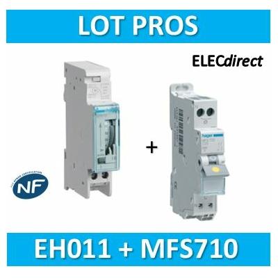 Hager - Interrupteur horaire journalier analogique avec réserve + disjoncteur 10A - EH011+MFS710