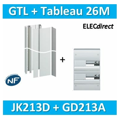 Hager - Kit GTL 13 Modules - 2 couvercles - 2x1,3m + tableau 26M - JK213D+GD213A
